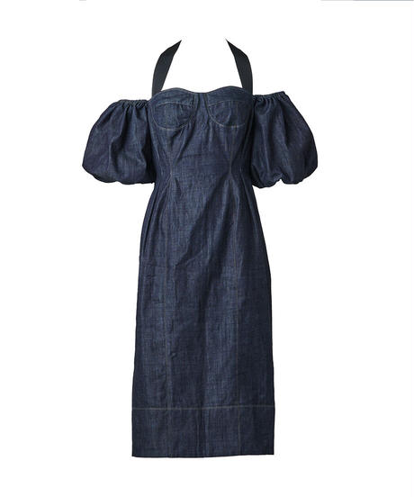 """""""love"""" denim off-shoulder dress"""