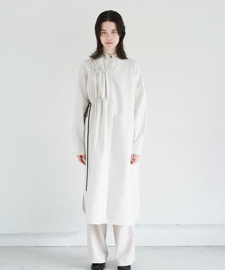 S006 [1] PAIR - Asymmetry Gathered Shirt Dress