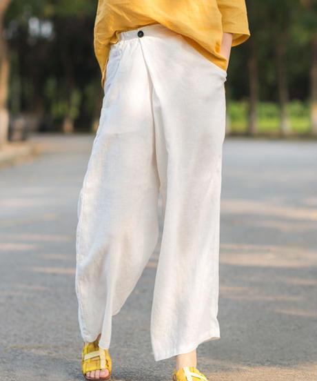 夏桜*リネン100% レトロ ワイド リネン パンツ ホリデーカジュアルパンツ ns190703-25白