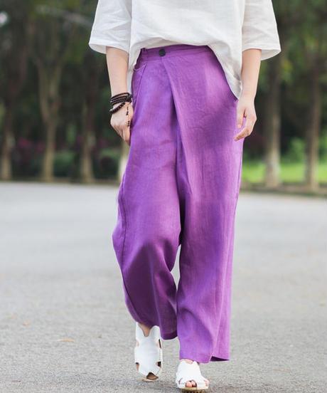 夏桜*リネン100% レトロ ワイド リネン パンツ ホリデーカジュアルパンツ ns190703-25紫