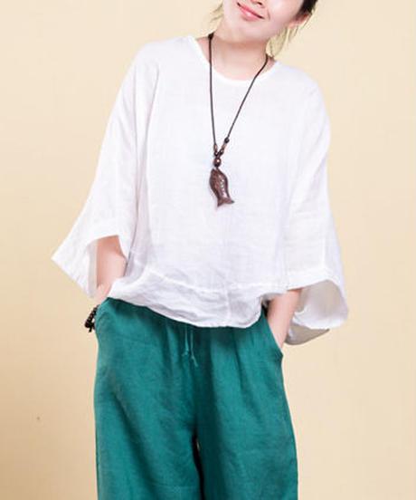 夏桜*高級ラミー100% ビックシルエット Tシャツ ホリデーカジュアルシャツ ns190703-17