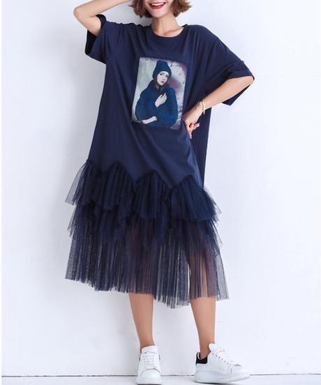夏桜*ビックシルエット メッシュ Tシャツ ワンピース 体型カバー カジュアル ワンピース ns190725-04