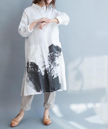 夏桜* コットン リネン シャツ らくちん フリーサイズ ワンピース  ホリデーカジュアルワンピース ns190703-16
