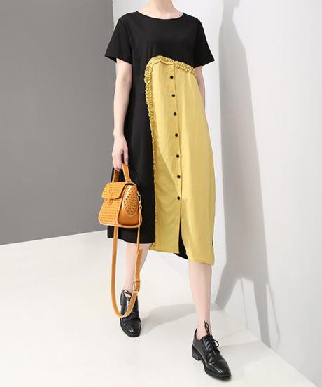 夏桜*ビック Tシャツ ワンピース モダン デザイン ワンピース 大人のモダンスタイル ns190625-002