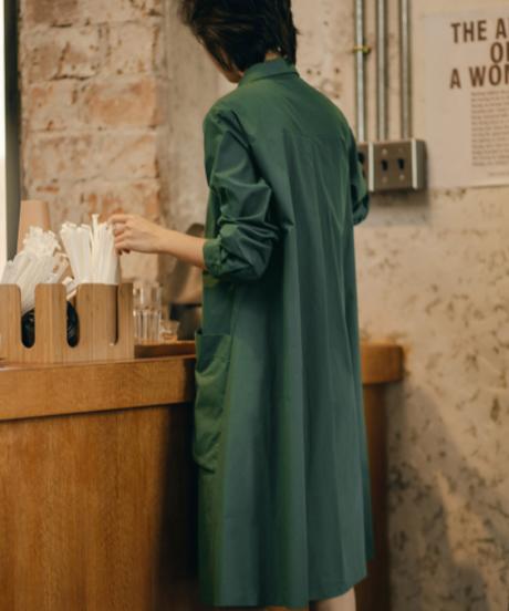 夏桜*シャツスカート女性のミドル丈コットンドレスns20200919-01