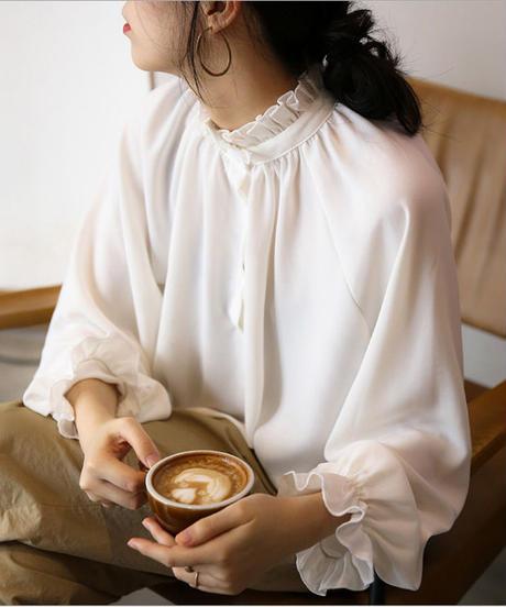 夏桜*花びらの襟 ランタンスリーブ 長袖 シフォン ブラウス ns190805-49