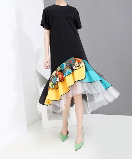 夏桜*ビック Tシャツ ワンピース モダン デザイン ワンピース 大人のモダンスタイル ns190625-001