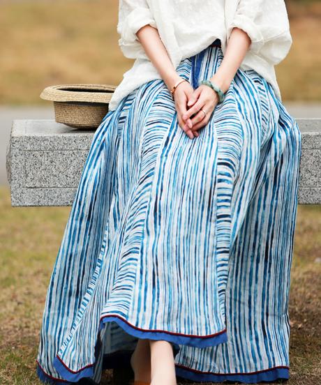 夏桜*ブルーストライプリネンロングAラインスカートns20200829-04