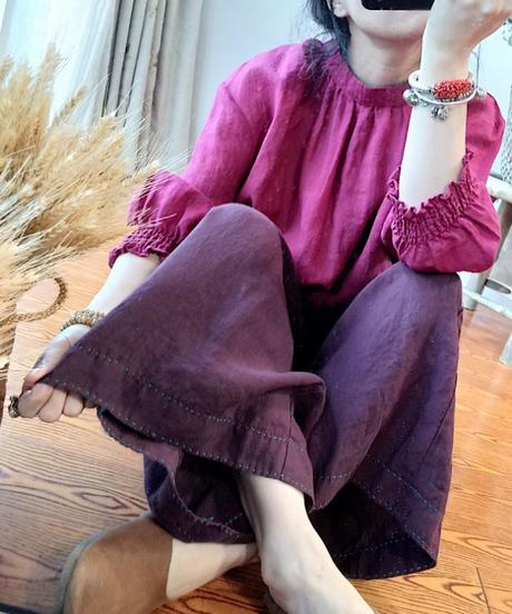 夏桜*秋のリネン レトロ ワイド カジュアル パンツ ns190805-97-1