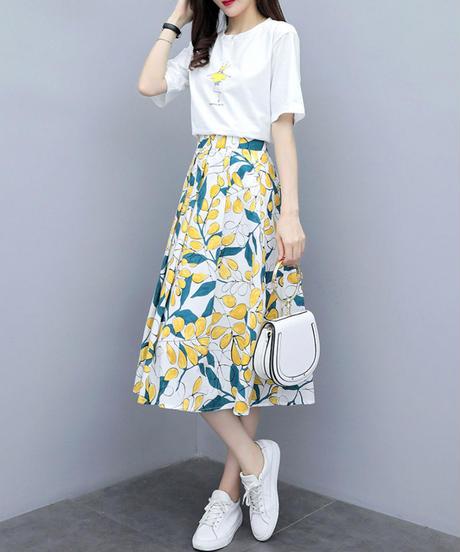 夏桜*プリント Tシャツ スカート セットアップ 通勤 カジュアルツーピース ns190701-15