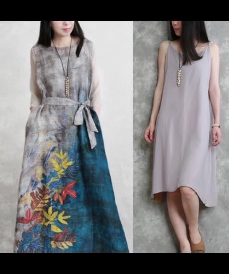 夏桜*レトロスタイルのシルクとリネンのワンピースns20200829-06
