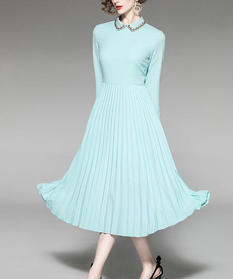 夏桜*宝石飾りカラー プリーツスカート ワンピース ns190103-001