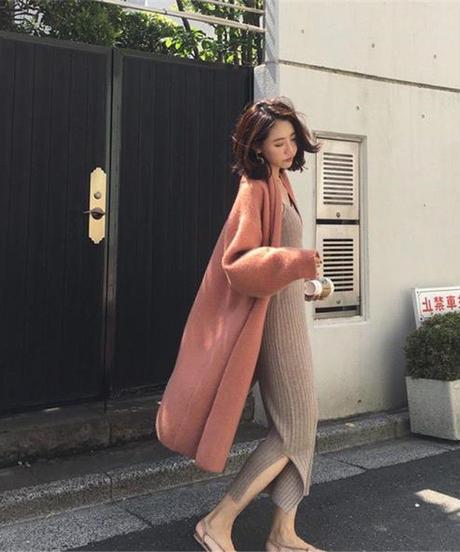 夏桜*ゆったり ニット ロング カーディガン セーター コート ns190902-25