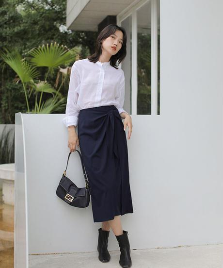夏桜*ツイスト リボン付き コットン スカート ns190805-30