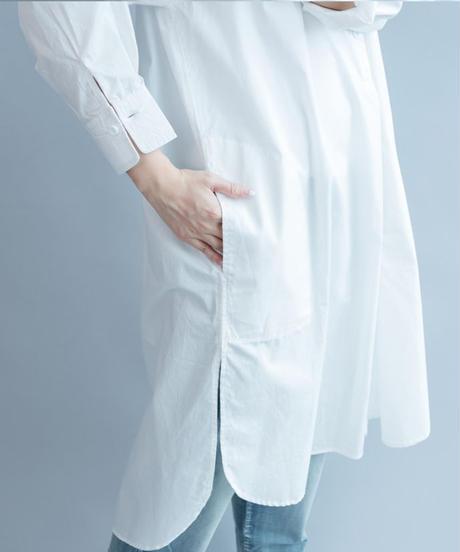 夏桜*ホワイト ロング バンドカラー シャツ ワンピース ns190805-68