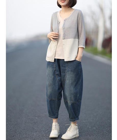 夏桜*秋の綿とリネン ストライプ 7分袖 カーディガン ns190805-98