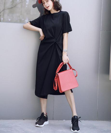 夏桜*ビックシルエット 体型カバー リゾート コーデ カジュアル ロング ワンピース ns190725-19黒