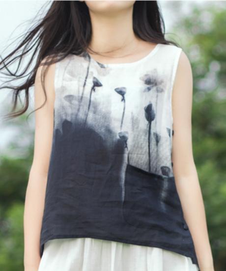 夏桜*高級ラミー100% ノースリーブ シャツ ホリデーカジュアルシャツ ns190703-13