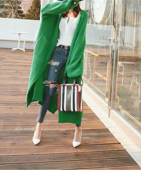 夏桜*厚手 ニットトップス ロングセクション 秋冬物 大きいサイズ セーター ns190902-26