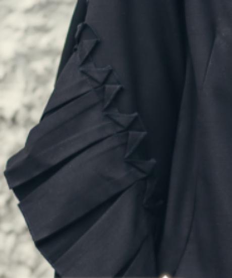 夏桜*無地黒紺色ワンピースプリーツ袖ns20200919-02