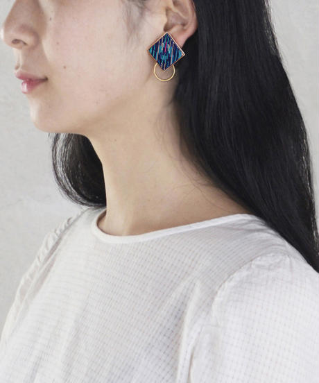 RITUAL | Square Hoop I earring | midnight blue
