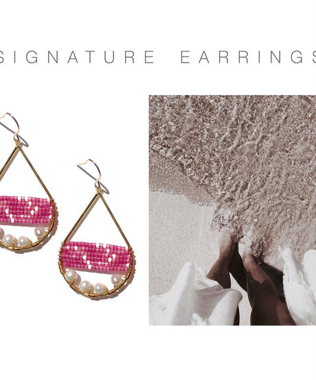 Kui Co.  Signature Earrings with 淡水パール (フューシャピンク)