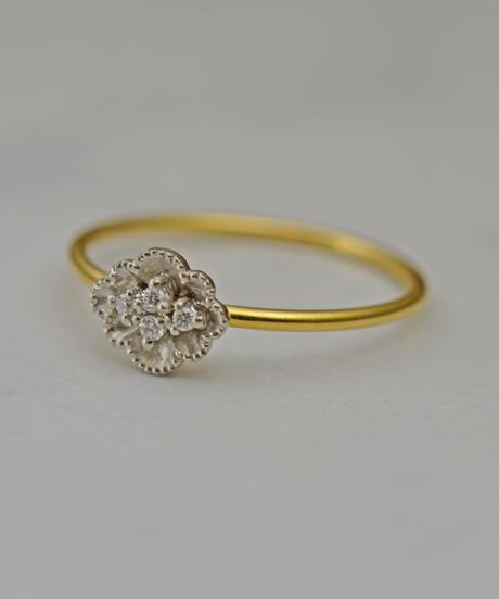 cocoron | Flower Pt Gold ring