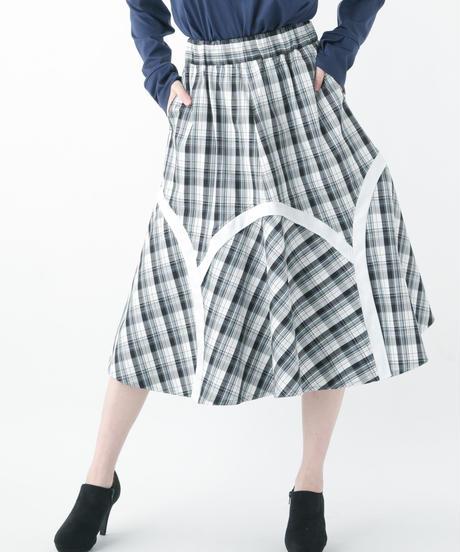 Check Skirt (WHITE , NAVY)