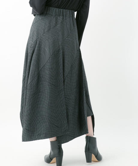 Distortion jacquard skirt (RED , GRAY , CHACOAL , BLACK)