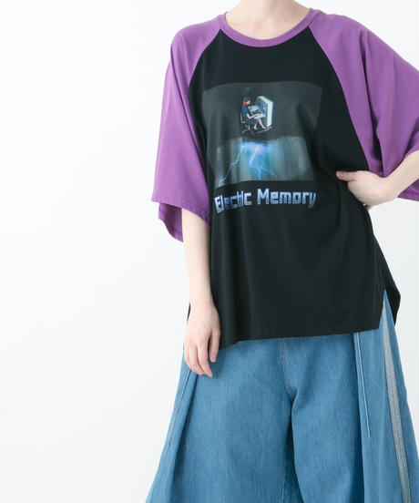 Electric Memoly Raglan T-shirt (WHITE , YELLOW , PURPLE , BLUE)