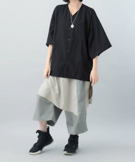 【21SS 受注予約商品】だぼだぼダボシャツ ( カラシ色 , ストライプ, black )