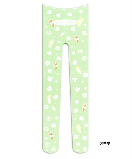 【キャラクター】タヌキとキツネ 8T-0190【春らんまん】プリントタイツ