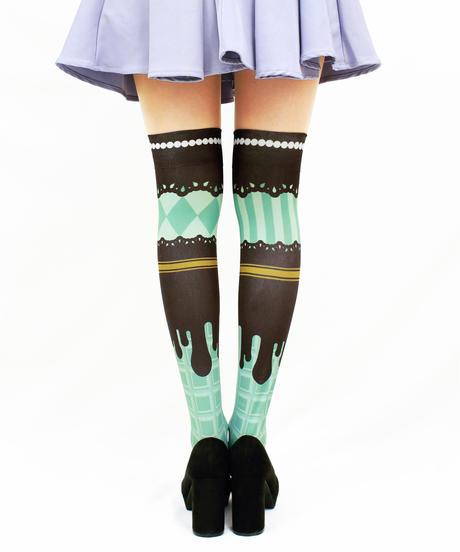【復刻】MerryGORound OV-0161【チョコレート(ミント)】オーバーニー