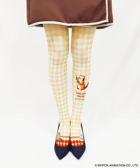 【キャラクター】あらいぐまラスカル 8T-0063【チェック】プリントタイツ