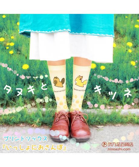 【キャラクター】タヌキとキツネ CS-0188【いっしょにおさんぽ】プリントクルーソックス