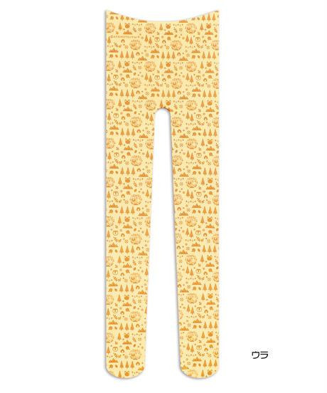 【キャラクター】タヌキとキツネ 8T-0191【総柄ブラウン】プリントタイツ