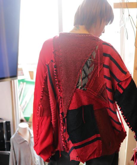 """""""レッドエンド・ガールフレンド"""" Red end girl friend, reconstructed from red knit vintages"""