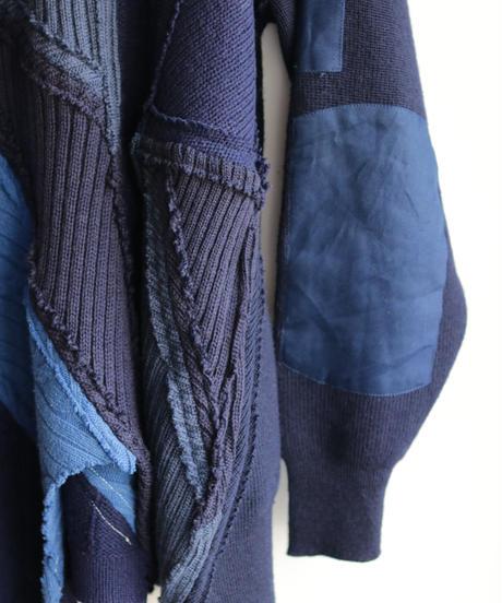"""""""東京豪雨"""" Tokyo Heavy Rain Knit, reconstructed from blue knit vintages"""