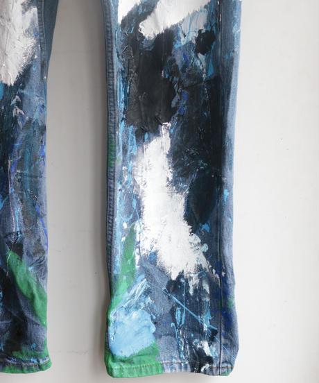 """""""黒風白雨"""" Storm painted denim, Based on Levis 505"""