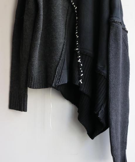 """""""悪と白虹"""" Dark White Rainbow asymmetry knit, reconstructed from black knit vintages"""