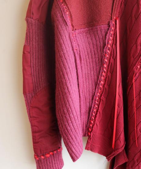 """""""群赤"""" crowd red knit, reconstructed from red knit vintages"""