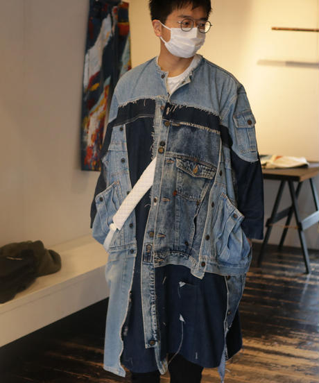 """水白虹"" Liquid White Rainbow Coat, reconstructed from denim vintages"