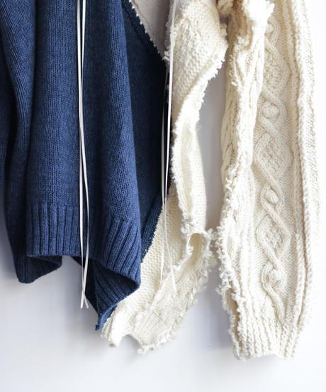 """""""雨明け招き"""" the Pray after the Rainfall knit, reconstructed from blue and white knit vintages"""