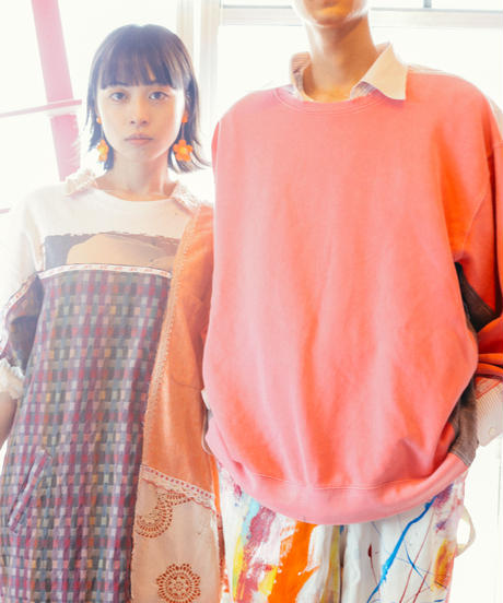 """""""まだ淡い春風"""" Still pale spring breeze Short dress, reconstructed from vintages"""