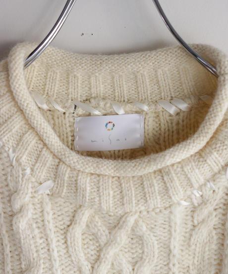 """""""あの日、青かっただけのニットセーター 2021年式"""" Past blue knit, reconstructed from blue and white knit vintages"""