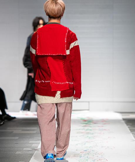 """""""少年とセーラーとMA-1"""" Boy, sailor and MA-1 knit, reconstructed from red knit vintages"""