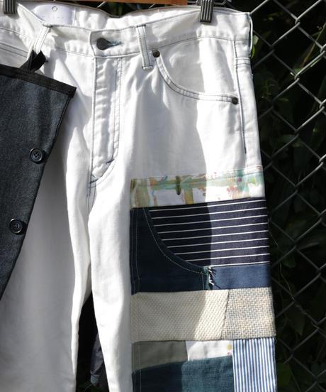 """""""悪と虹"""" Suit pieces, hand-dyed ribbons, patchwork, Based on Vintage denim"""