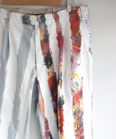 """ホワイト・ストライプス"" The White Stripes painted pants, Based on Bleach vintage denim"