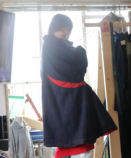 """""""赤が覗く夜"""" night with red gaze coat, reconstructed from french cloak and denim vintages"""