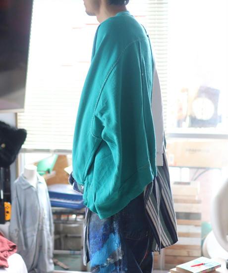 """""""緑雨"""" Green rain Misaligned pullover, rebuild by vintages"""